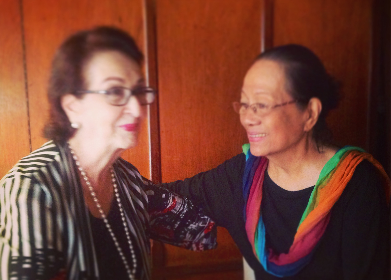 Gloria Romero and Caridad Sanchez today.  (Photo by Cathy S. Babao)