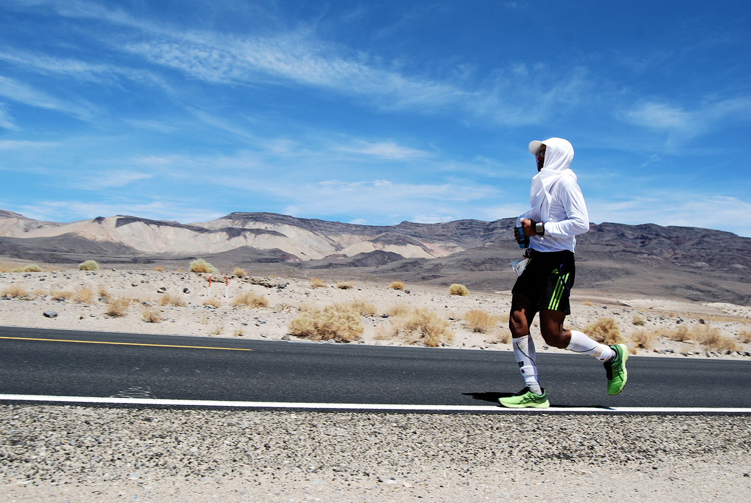 During the Badwater Ultramarathon in Death Valley, California, Ben Gaetos runs on the white line where it's not as hot.  (Photo courtesy of Ben Gaetos)