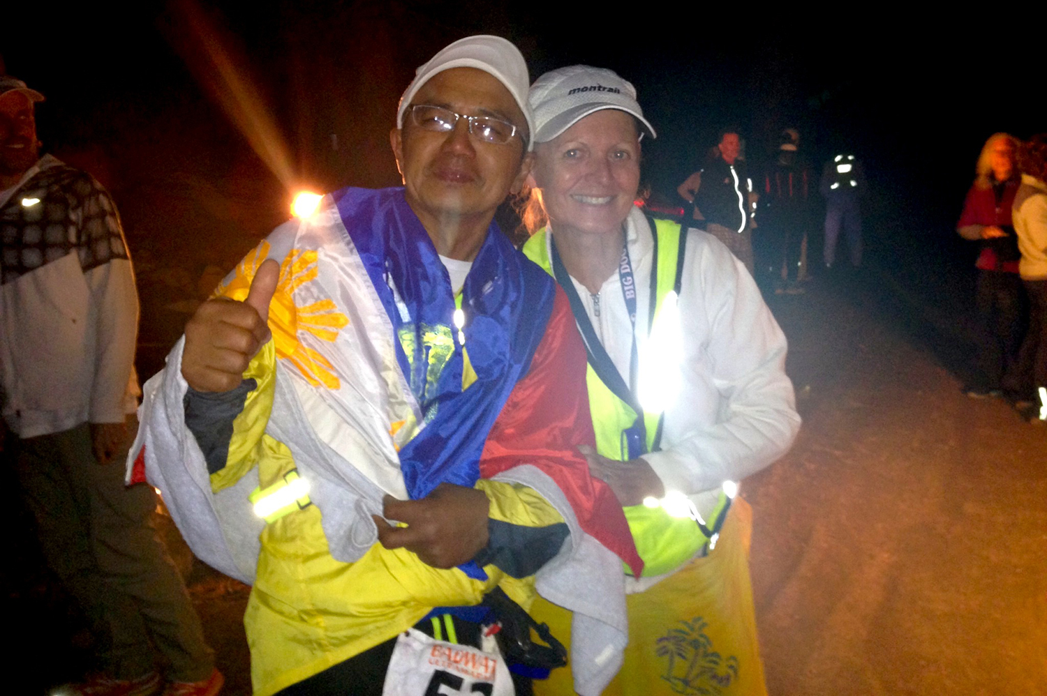 "Gaetos at the finish line, with crew chief ""Ultra Mom"" Nancy Shura-Dervin  (Photo courtesy of Ben Gaetos)"