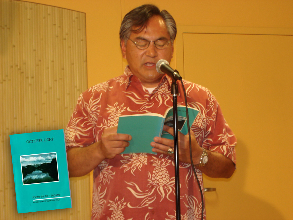 "Jeff Tagami reading from ""October Light"" at  at the Manilatown Center  (Photo courtesy of Shirley Ancheta)"