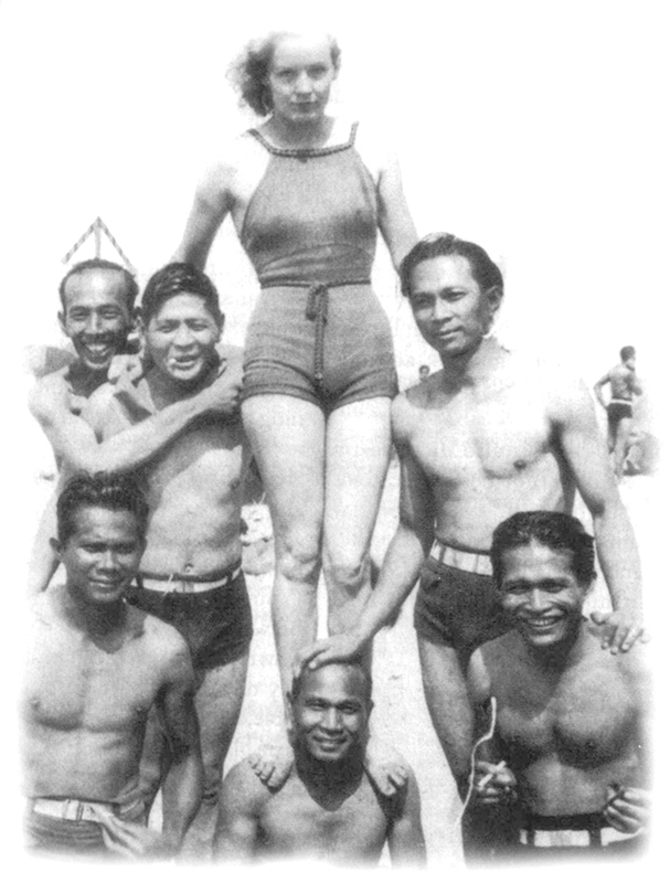 "The attention lonely Filipino manongs lavished on white women, as in this beach scene in the '30s, incensed many white men.  (Source: ""Letters in Exile"" Asian Studies Center, 1976)"
