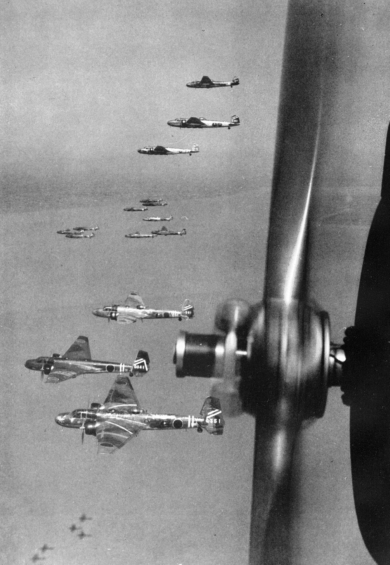 Japanese bombers in flying formation
