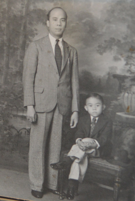 Young Fred Cordova and the father who adopted him, Leoncio Cordova    (Photo from the Cordova Memorabilia Exhibit)