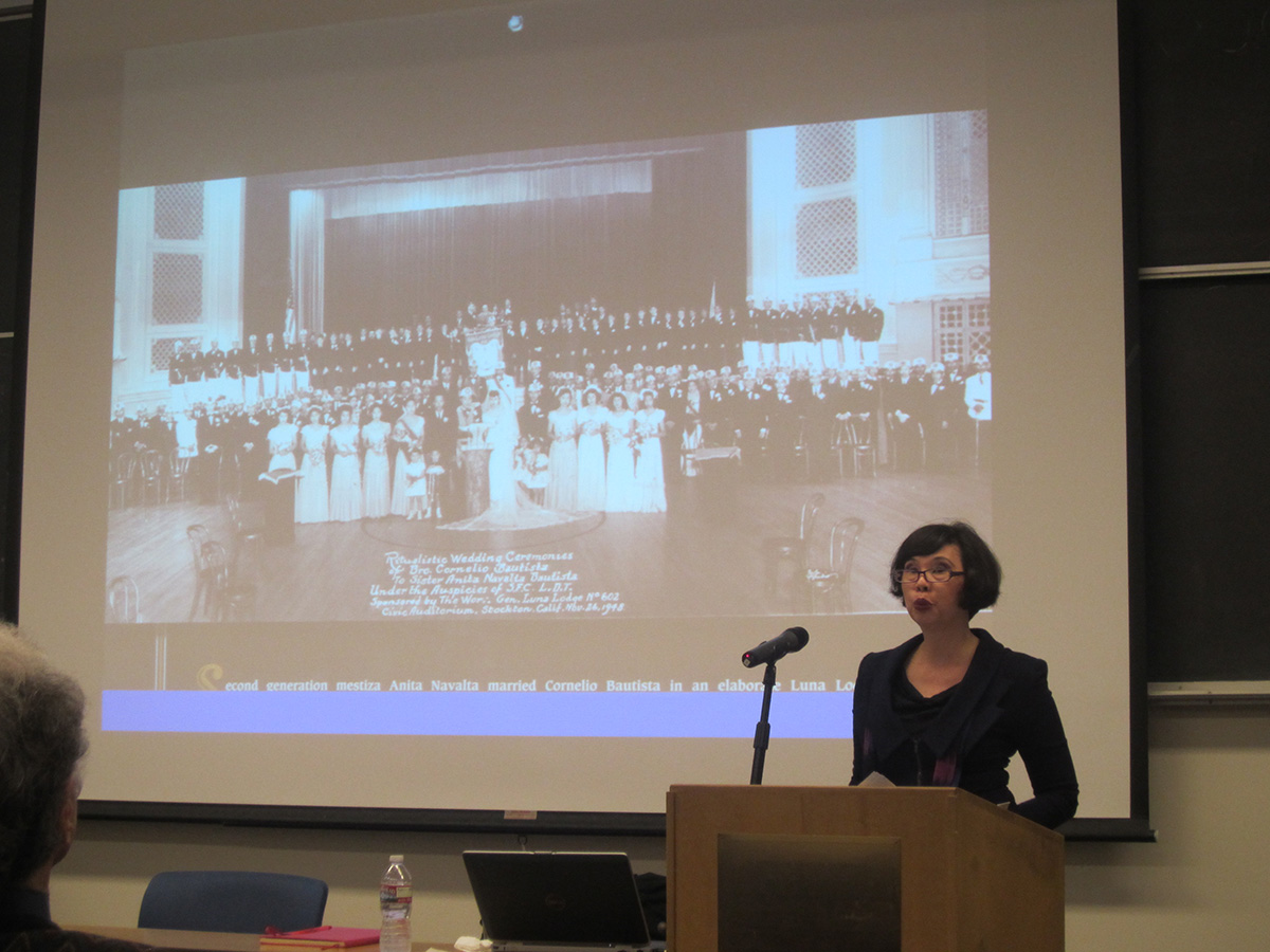 """Mina Roces delivers a lecture on """"Filipino Migration and the Rethinking of the Family, 1906–2010,"""" at UC Berkeley.  (Photo by Astrid M. Barros)"""