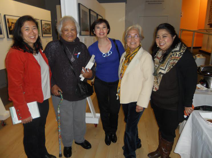 Mina Roces, center, at Manilatown, San Francisco, with fellow authors Catherine Ceniza Choy, Vangie Buell, Penelope Flores and Dawn Mabalon  (Photo by Elena Mangahas)