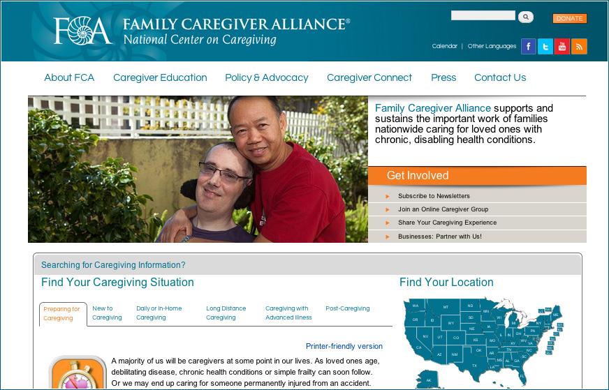 Family Caregiver Alliance website (Source: www.caregiver.org)