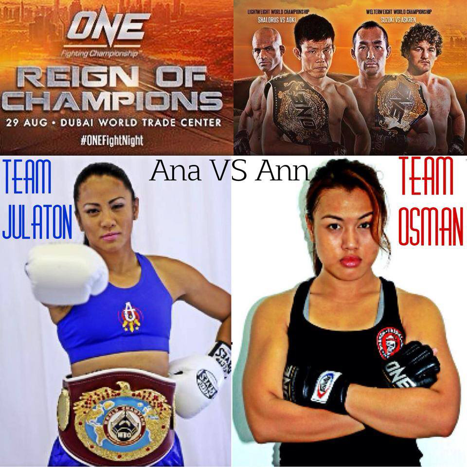 "Former Filipina boxing champ Ana ""Hurricane"" Julaton takes on Malaysian MMA fighter Ann Osman at the ONE FC: Reign of Champions event in Dubai, August 29, 2014"