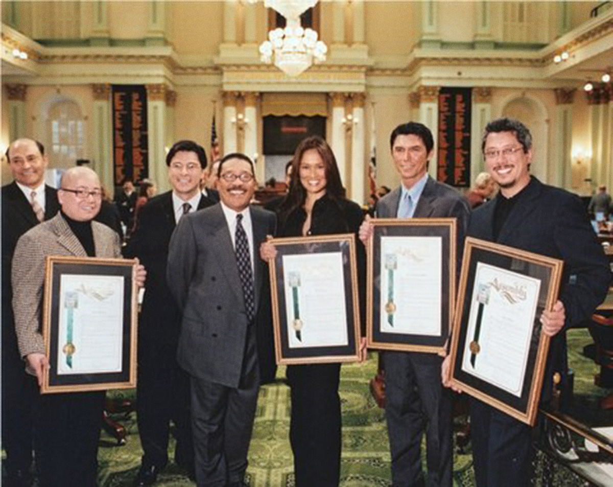 Fritz Friedman, Congressman Xavier Becerra, actress Tia Carrere, Los Angeles City Council President Herb Wesson, actor Lou Diamond Philips, and producer Dean Devlin at the California State Assembly (Photo courtesy of Fritz Friedman)