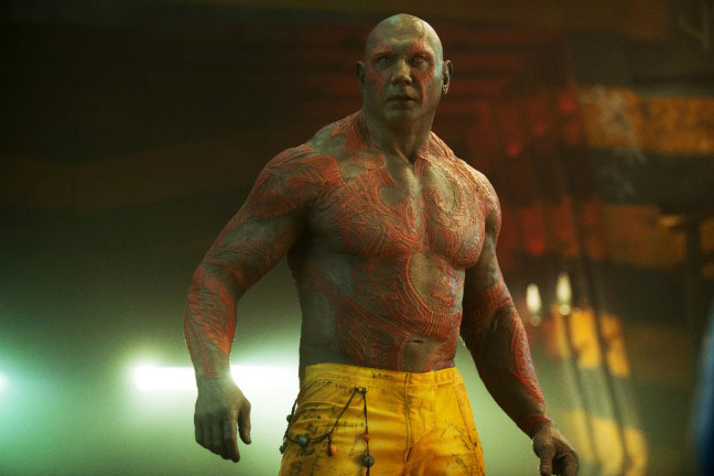 """Dave Bautista as Drax the Destroyer in """"Guardians of the Galaxy."""" (Photo credit: Marvel Studios)"""