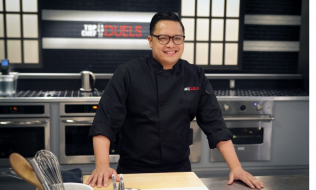 """Dale Talde on the set of """"Top Chef Duels."""""""