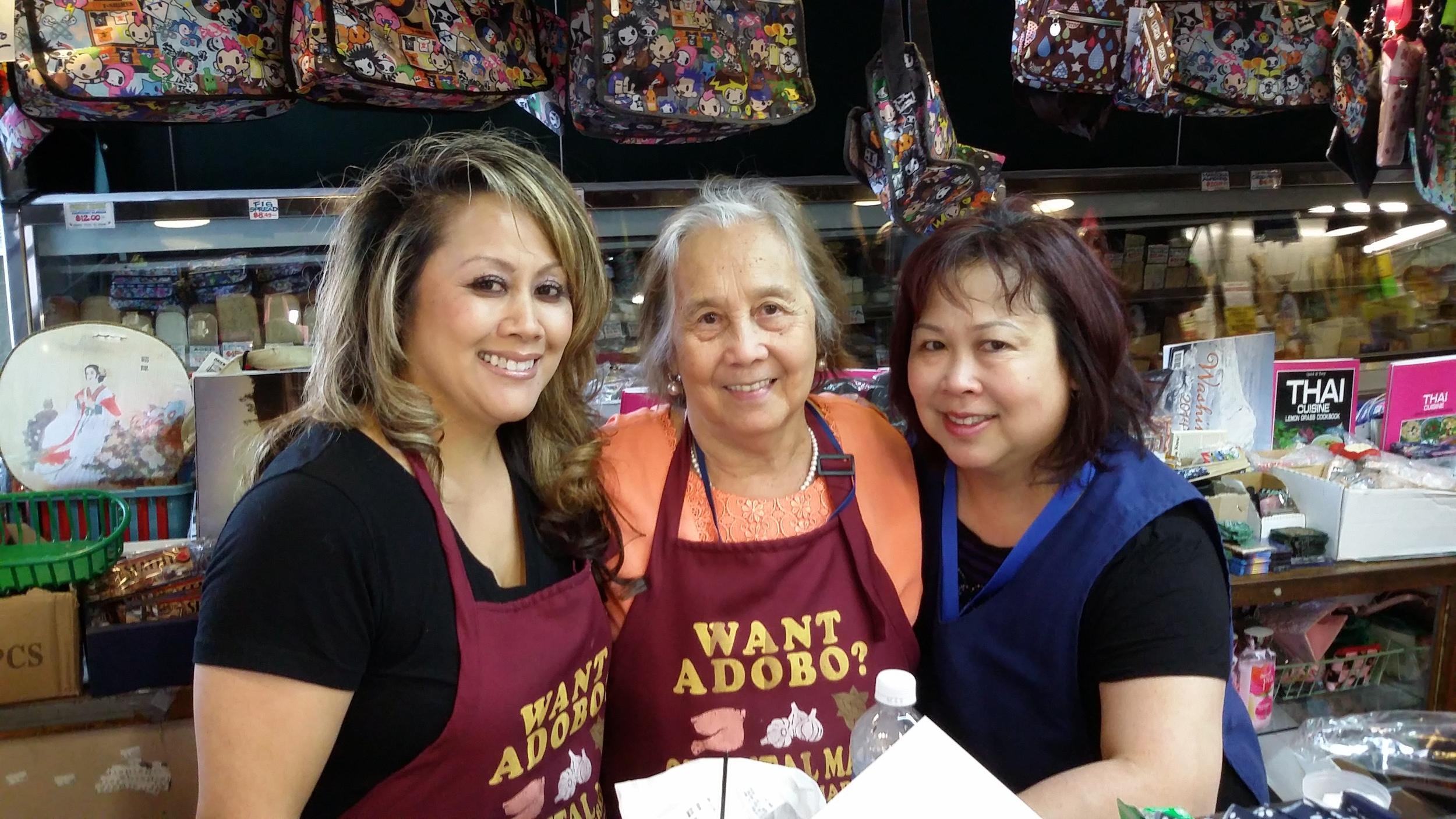The Apostol women rule at Oriental Mart: from left to right, Joy Apostol Mori, Milagros Guacen Apostol, and Leila Apostol Rosas. (Photo by Elias M. Ferrer)