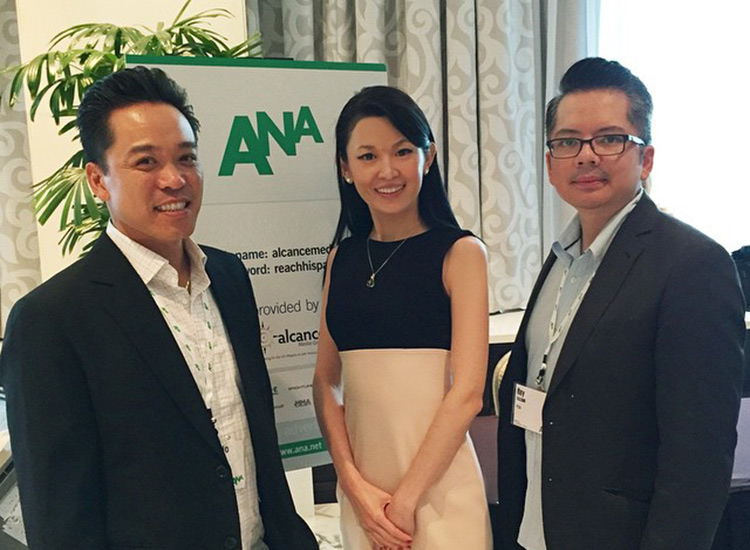 Plan C Agency president Giancarlo. Pacheco with account manager, Saina (middle) and VP of Marketing, Rey Lozano (right) at the 2014 ANA Multicultural Marketing & Diversity Conference. (Photo courtesy of Plan C Agency)
