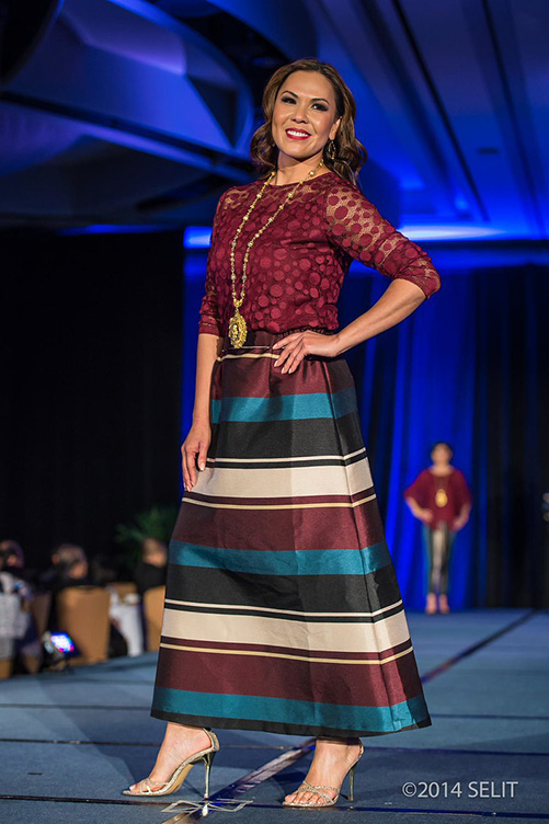 Merlot dotted sheer fitted top and camisole paired with multi-color striped A-line maxi skirt (Photo by  Selit Rapadas / UNIT ONE Photography Studio )