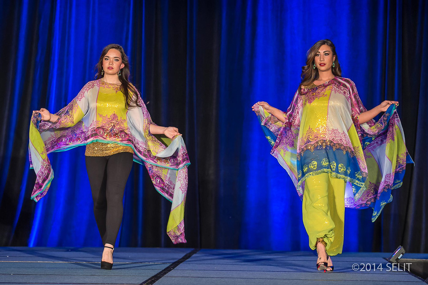 (Right) Multi-color print chiffon boat neck kaftan top and gold sequin camisole paired with chartreuse harem pants. (Left) multi-color print chiffon boat neck kaftan crop top and gold sequin camisole paired with black leggings  (Photo by  Selit Rapadas / UNIT ONE Photography Studio )