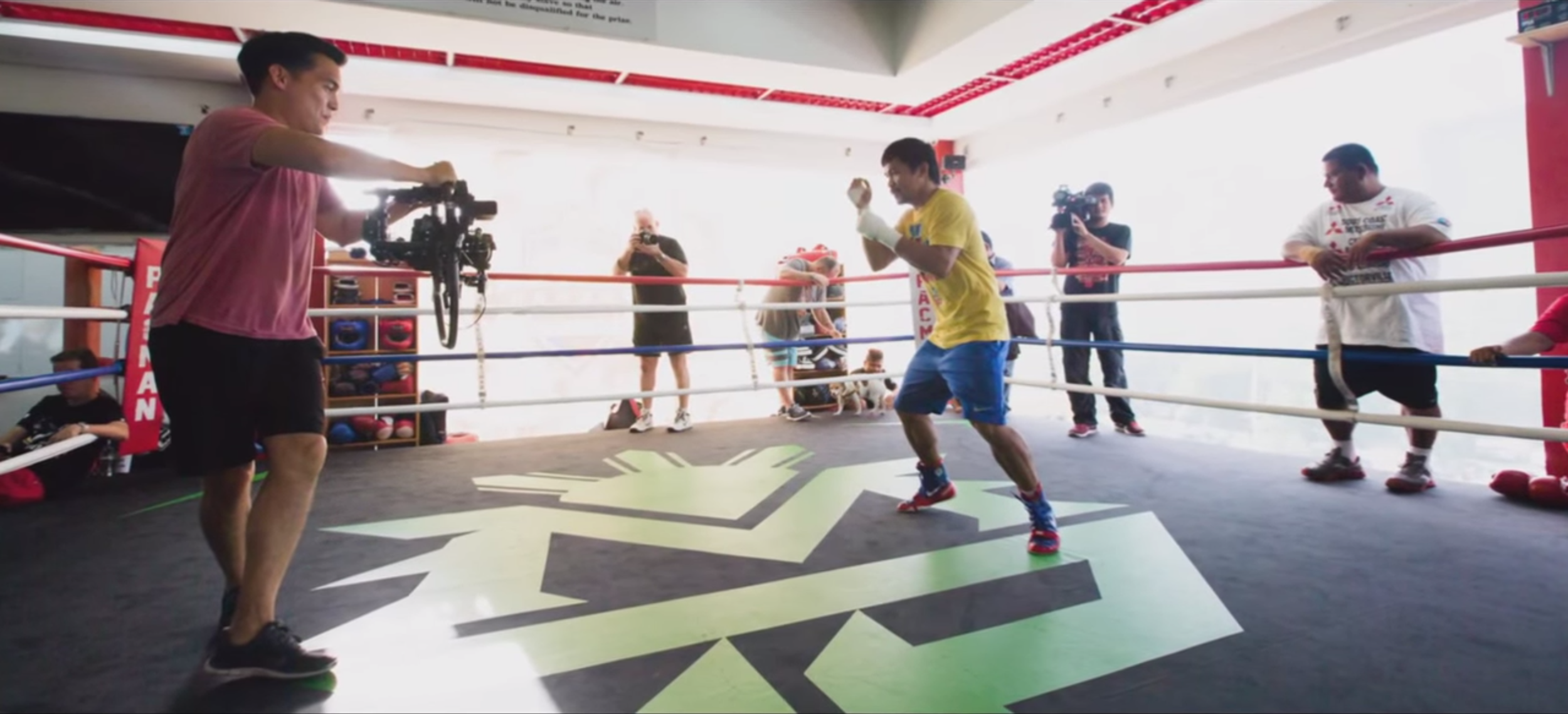 Director Ryan Moore filming boxer Manny Pacquiao (Photo courtesy of Ryan Moore)