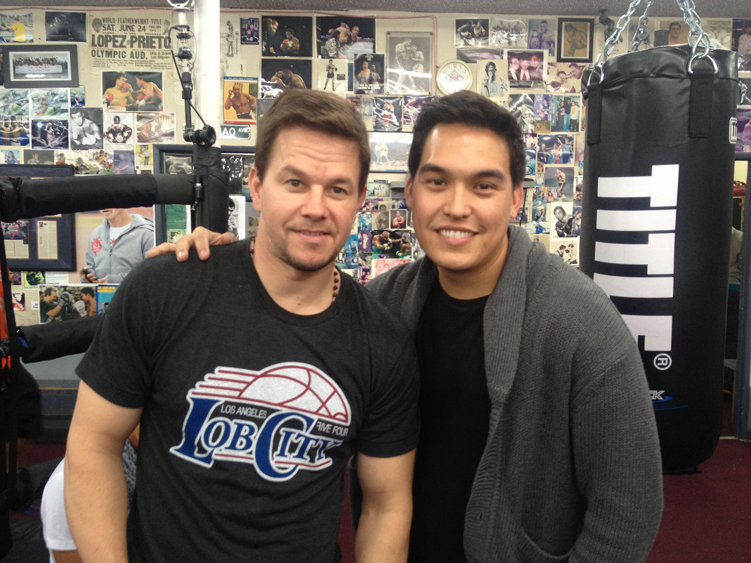 Actor Mark Wahlberg with Moore at Wildcard Boxing Gym (Photo courtesy of Ryan Moore)