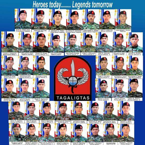 A tribute image of the 44 PNP-SAF officers slain in the 12-hour firefight in central Mindanao (Source: wikipedia.org)