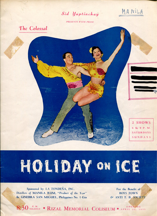"""Cover of the souvenir program of the 2nd Manila engagement of """"Holiday on Ice"""" in 1955, this time in a covered venue, the Rizal Memorial Coliseum. (Source: Roy Blakey Collection.)"""