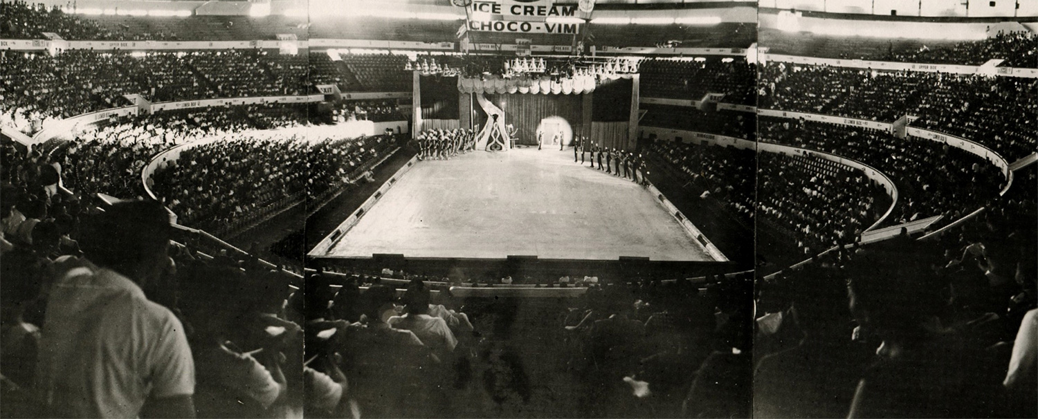 """Wide-angle shot of"""" Holiday on Ice"""" at the Araneta Coliseum, 1962 edition. Because of Manila's warm climate, the ice shows were a great treat and often sold out. (Photo courtesy of Roy Blakey)"""