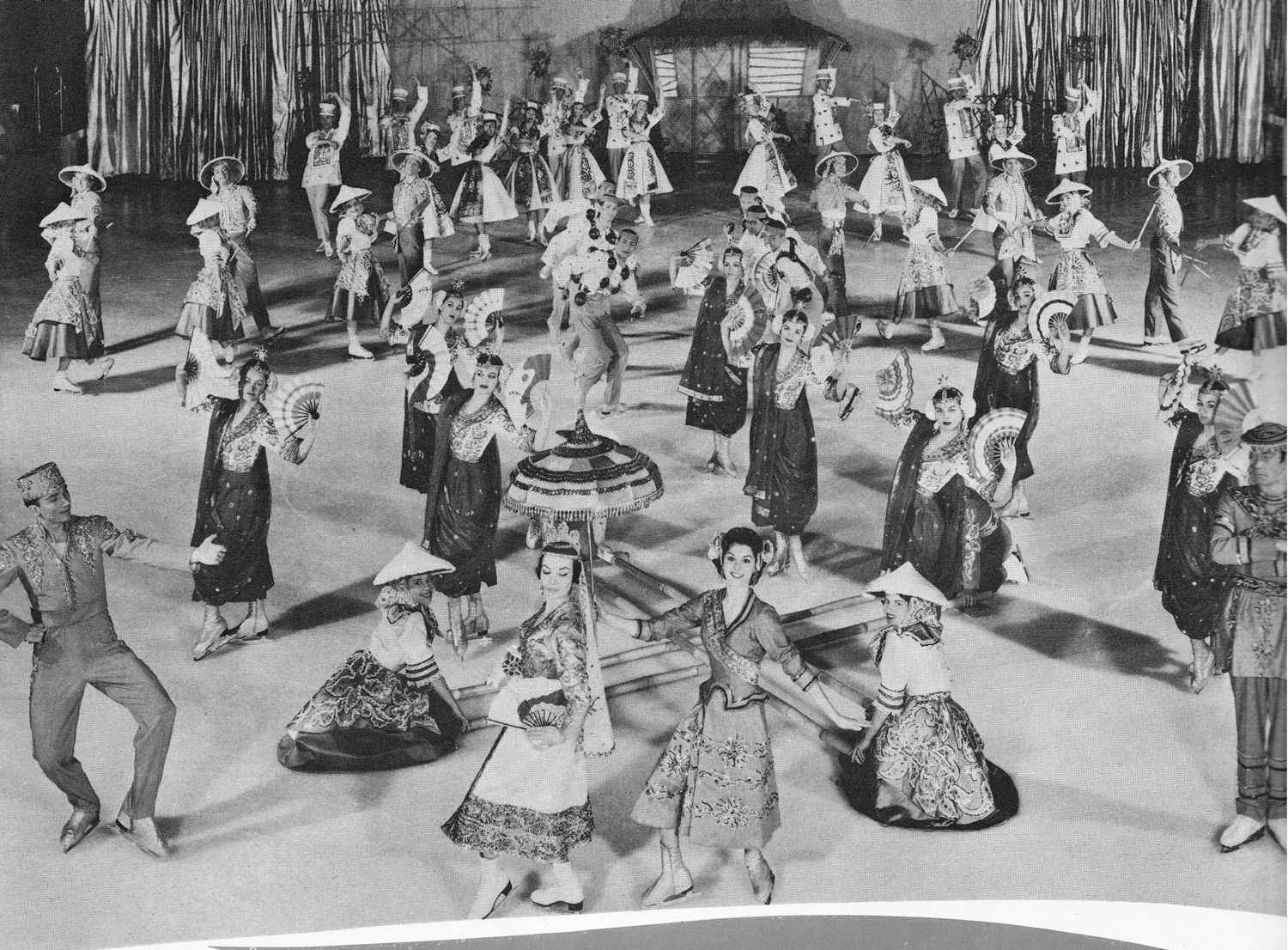 """The entire cast of 52 Ice Cadet and Capette skaters in """"Philippine Dances Suite,"""" 1961 edition. (Source: """"Ice Capades"""" and author)"""