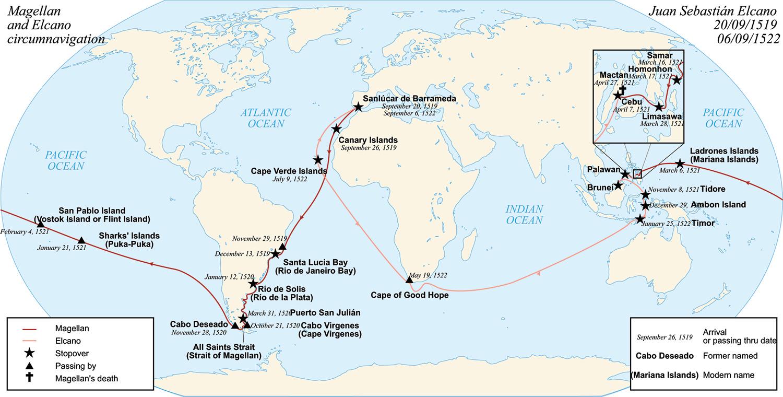 Magellan and Elcano's circumnavigation around the world (Source: wikipedia)