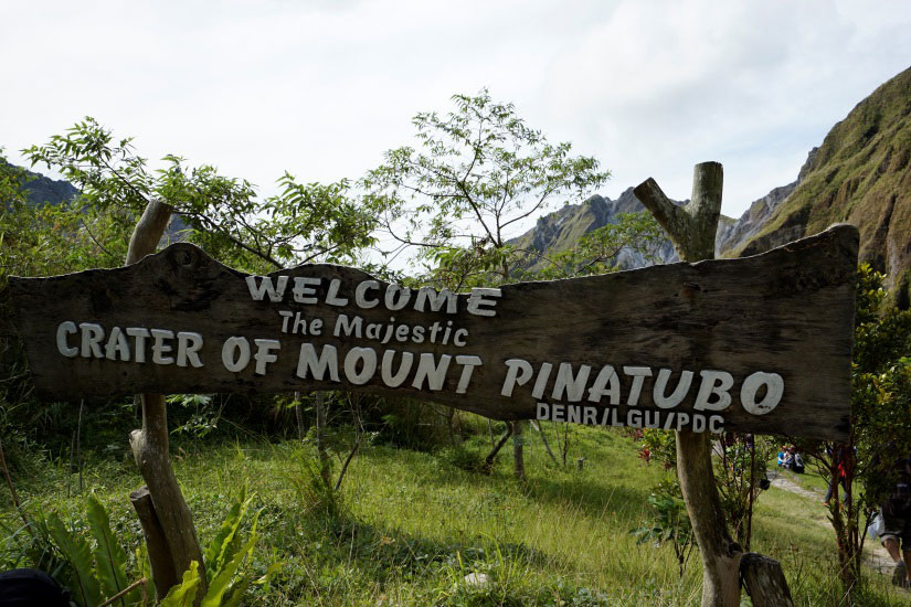 The welcome sign at the crater of Mount Pinatubo (Photo by Sonny Siasoco)