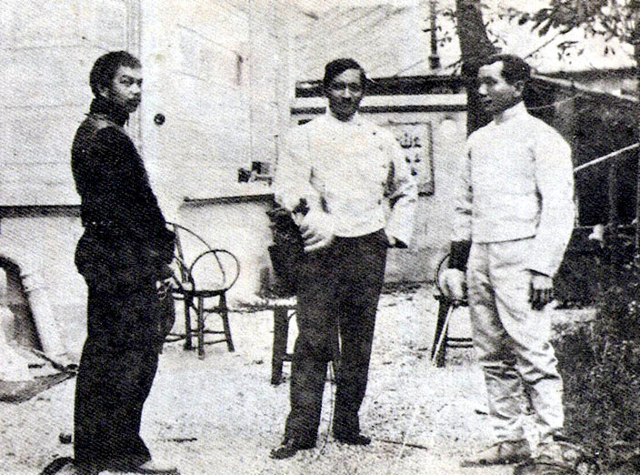 Jose Rizal (middle) with Juan Luna (left) and Valentin Ventura.