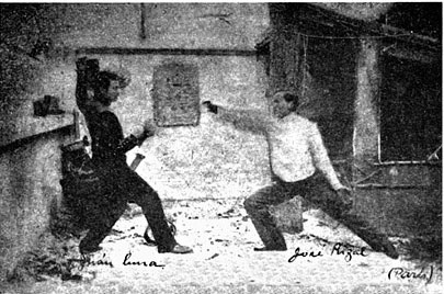 Jose Rizal (right) fencing with JuanLuna in Paris