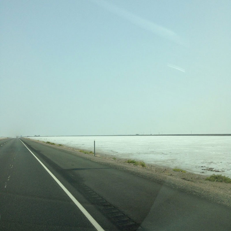 When we crossed the Nevada-Utah state line, the landscape change from boring desert to a sea of white salt. Around 60 miles of flat white expanse both sides of the road. A bit surreal, I think (Photo by Gemma Nemenzo).