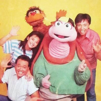 Cover photo of  Batibot Cassette Collection, 1988. Clockwise from bottom left: Junix Inocian, Sienna Olaso, Kiko Matsing, Pong Pagong,Bodjie Pascua. (Photo courtesy of Bodjie Pascua)