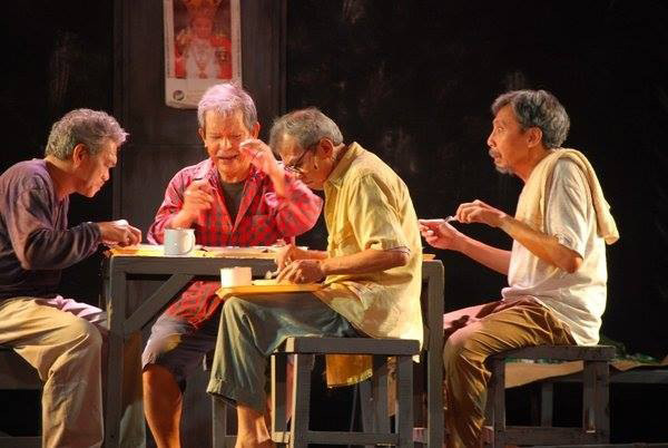 As Sotero. Revival of  Hiblang Abo, for the Ruby Anniversary Celebration of Gantimpala Theater Foundation (GTF, formerly Bulwagang Gantimpala), 2009. Directed by Tony Espejo. From left: Lou Veloso, Ces Aldaba, Dante Balois,Bodjie Pascua. (Photo courtesy of Bodjie Pascua).