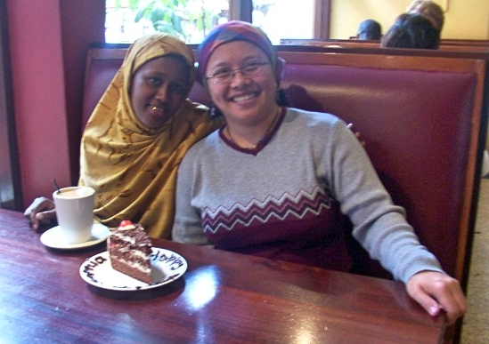 The author and a Somali Kenyan friend celebrate the latter's birthday. (Photo courtesy of Agatha Verdadero)