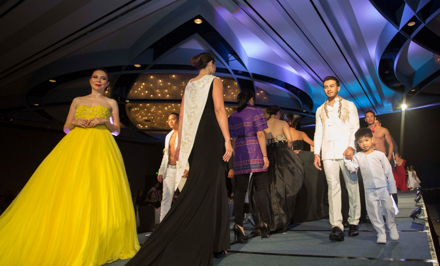 The all-inclusive fashion show (with men's and children's wear) by Manila designer John Ablaza.  (Photo by Noel Ferrer)