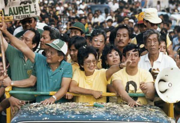 Doy Laurel and Cory Aquino hit the campaign trail to oppose President Marcos (Photo by Erik de Castro/Reuters/Corbis)