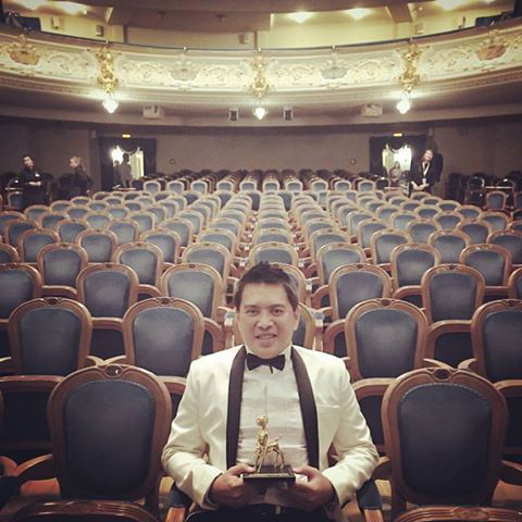 """Brillante Ma. Mendoza after winning the Outstanding Artistic Achievement Award in the 25th International Film Festival """"Message to Man"""" in St. Petersburg, Russia, where he headed the main competition jury. Mendoza's masterpieces """"Lola,"""" """"Kinatay"""" and """"Taklub"""" were showcased in the festival."""