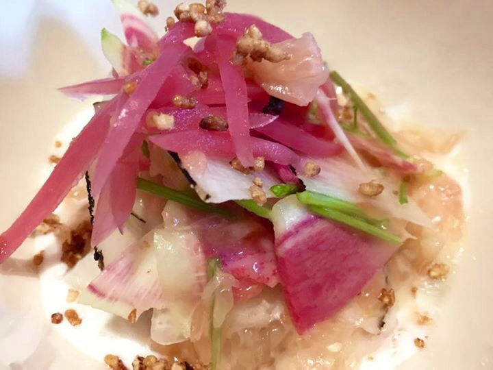Kilawin - mackerel cured in vinegar and coconut milk, garnished with grapefruit. (Photo by Wilma Consul)