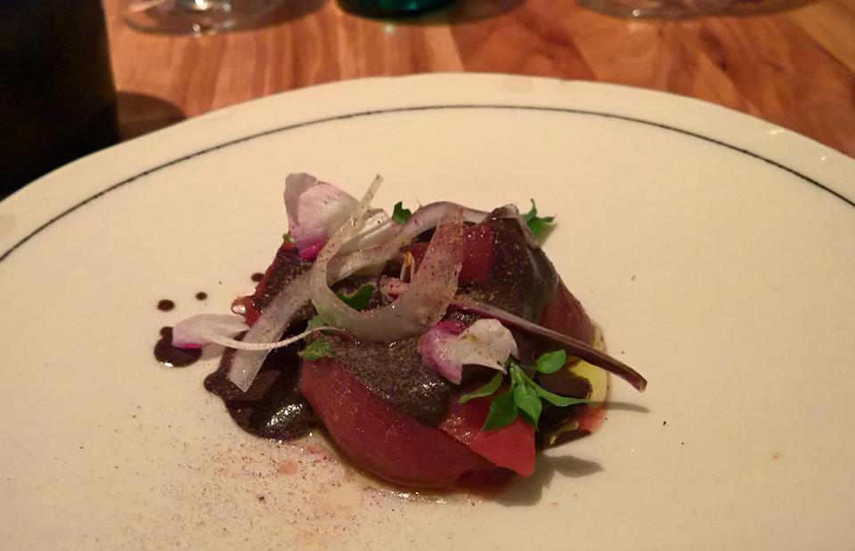 Paul Qui's Pork Blood Beets Salad with Roasted Vegetables (Photo by Jane Po)
