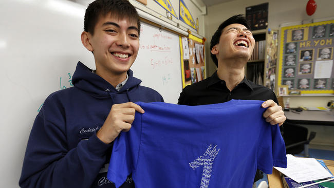 Cedrick Argueta (left) (Photo by Al Sieb/LA Times)