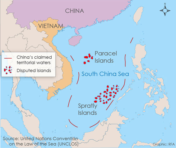 The Nine Dash Line area in the West Philippine Sea claimed by China (Source: UNCLOS, RFA)
