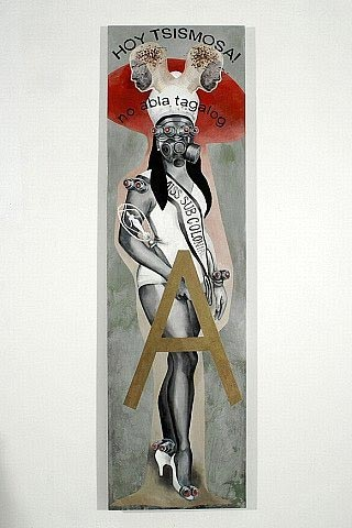 Poethig's Filipino imagery includes beauty queens as this piece from her 2008 WASAK exhibition at the Yerba Buena Center for the Arts. (  Photo  © Johanna Poethig)