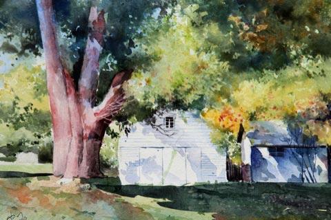 """Pahaquarry Landscape,""watercolor,11"" x 15"",January 2000, Angelito de Leon David (Artist's Collection)"