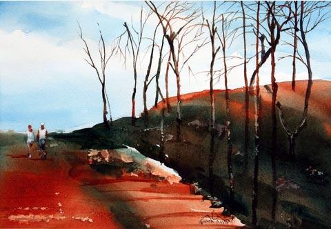 """Poconos Landscape,"" watercolor, 11"" x 15"", 2006, Angelito de Leon David (Janina and Ryszard Kowalczruk collection)"