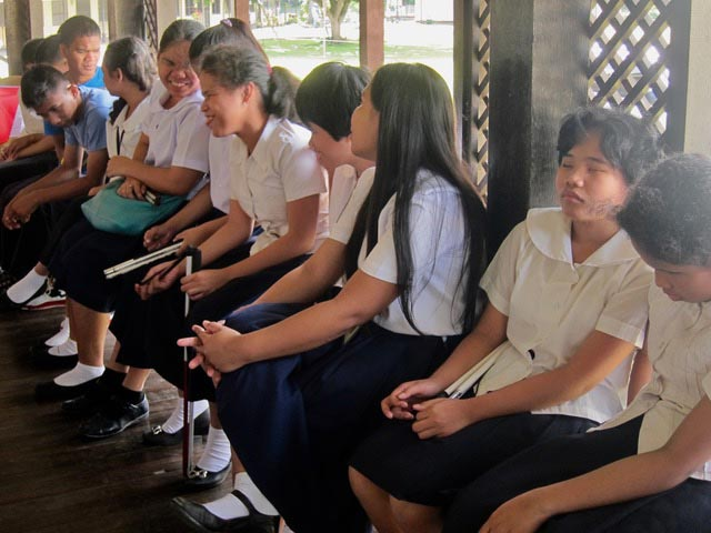 Students at Davao School for the Blind