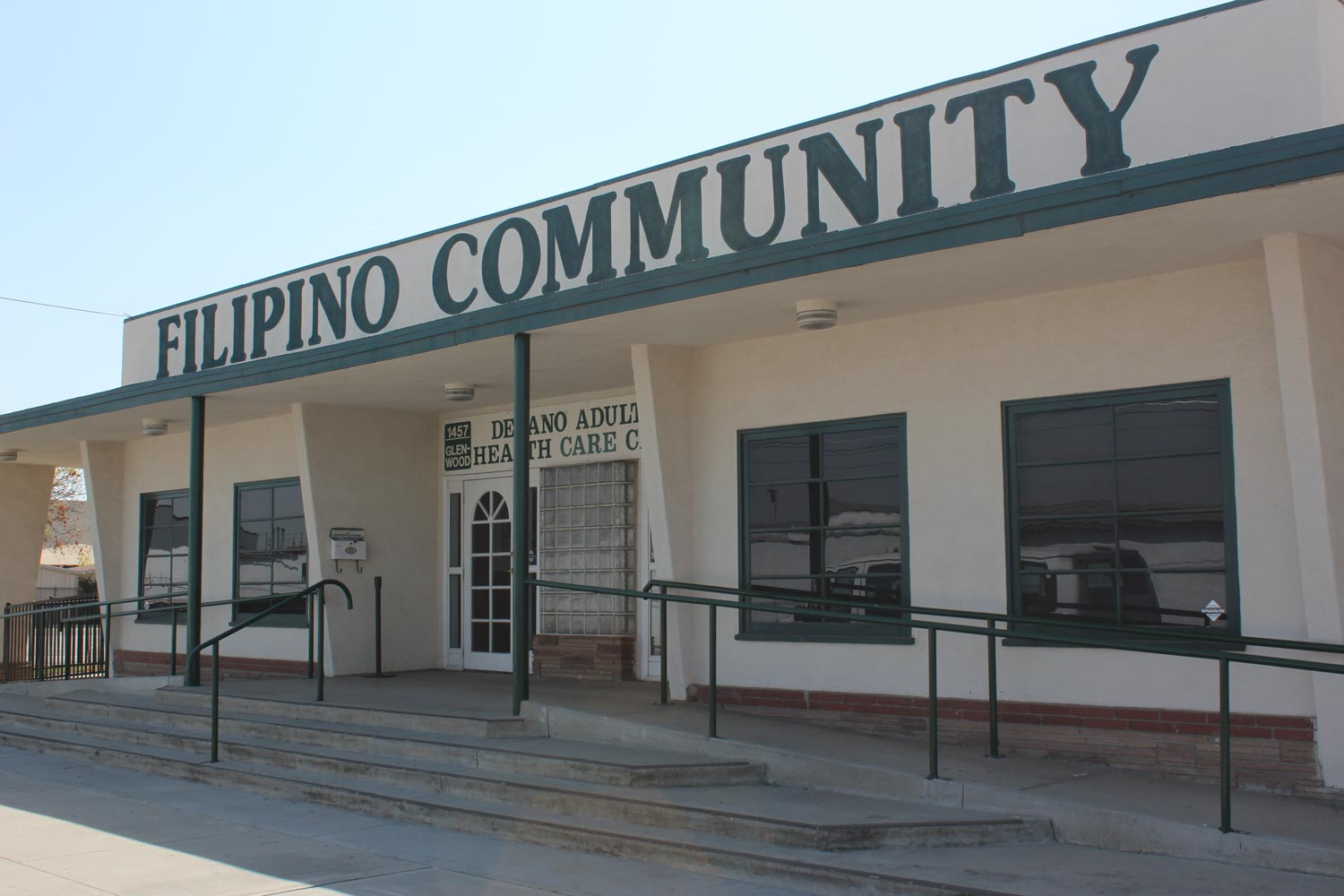 The Filipino Community hall in Delano, California is a landmark location for the struggle for farm workers in the area. Over the years, it has held numerous rallies and speeches, as local workers advocated for reforms. Today, it's an adult health care center for seniors in the city. (Photo by Dorian Merina)