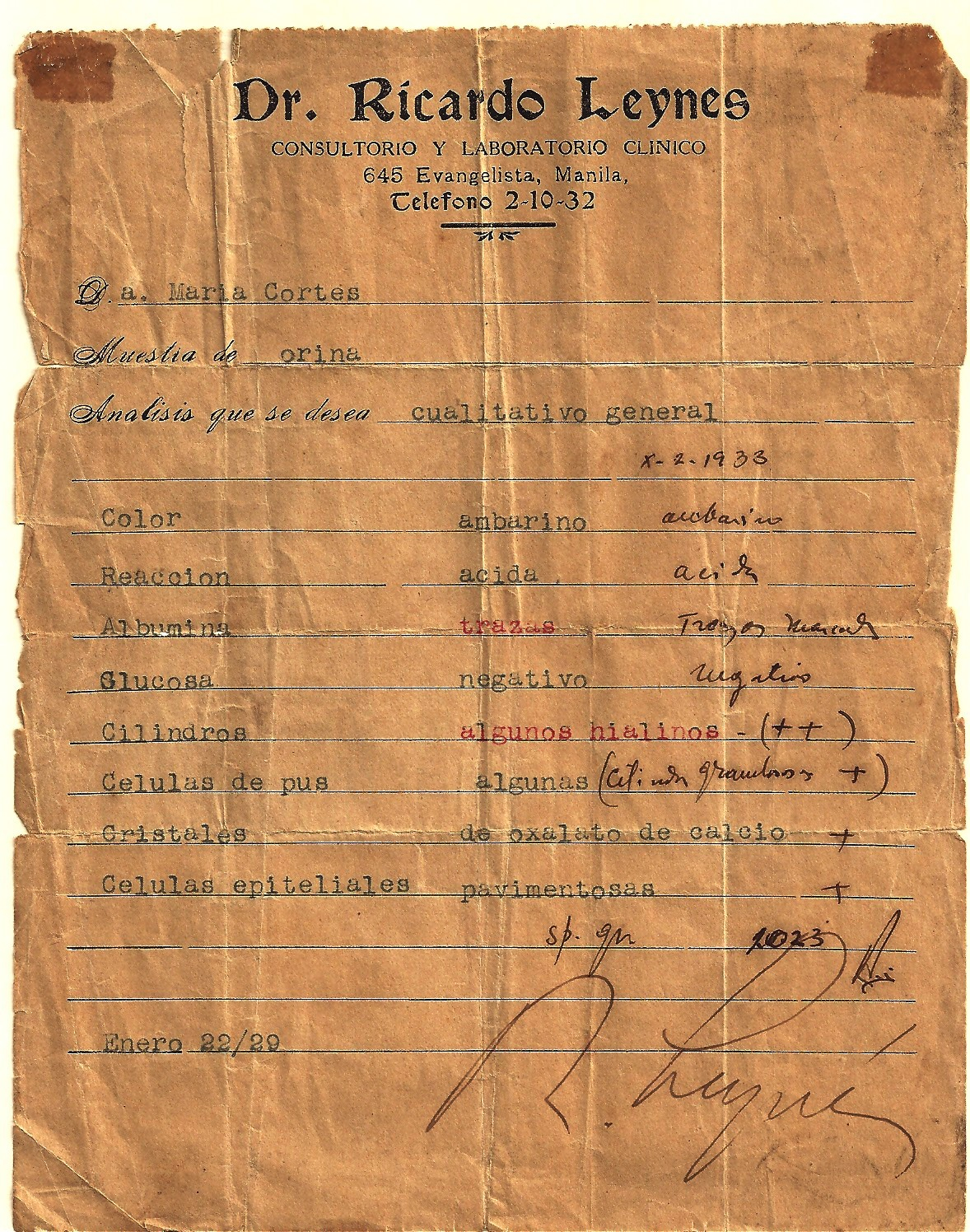 A medical report written by my grandfather to my sister-in-law's grandmother. Who would have known that the two families would be united by a marriage three generations after? (Photo courtesy of Maripi Leynes)