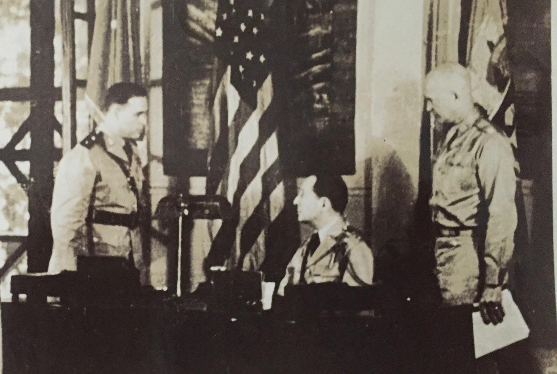 Major General Basilio Valdes with General Douglas MacArthur and General Dwight Eisenhower.
