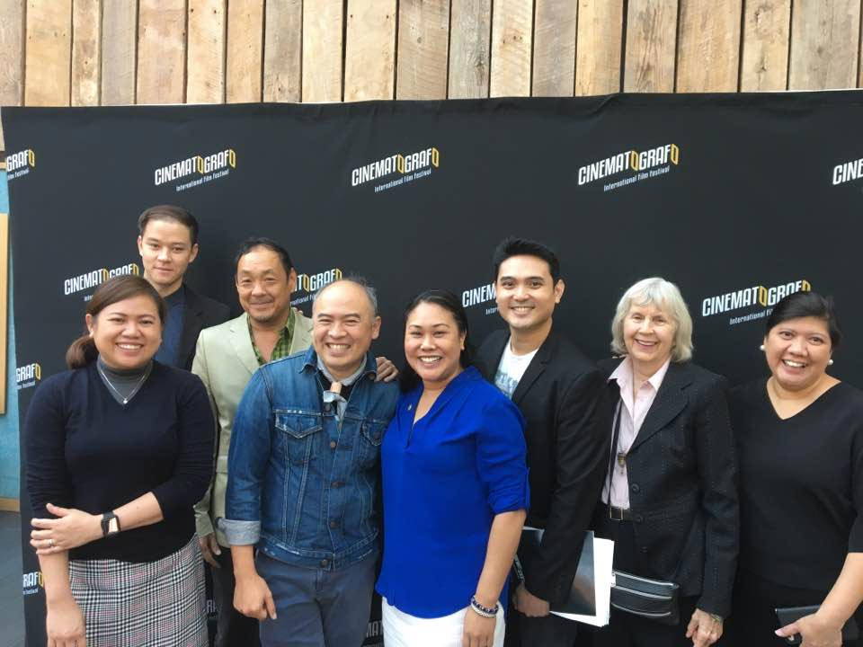 (L-R) ABS-CBN International Marketing Specialist Mimi Dayo-Arguelles; Publicist Vince Johnson; Festival and Industry Forum Adviser Corey Tong; CIFF 2017 Executive Director John-D Lazatin; Chief of Staff at CA State Board of Equalization Genevieve Jopanda; CIFF 2017 Festival Director Miguel Sevilla; President/Founder or Larsen Associates Karen Larsen; ABS-CBN International Global Marketing Head Pam Castillo at the Cinematografo International Film Festival launch and press conference at the AMC Dine-In Kabuki 8 Theaters in Japantown. (Photo courtesy of Pia Lopezbanos-Carrion)