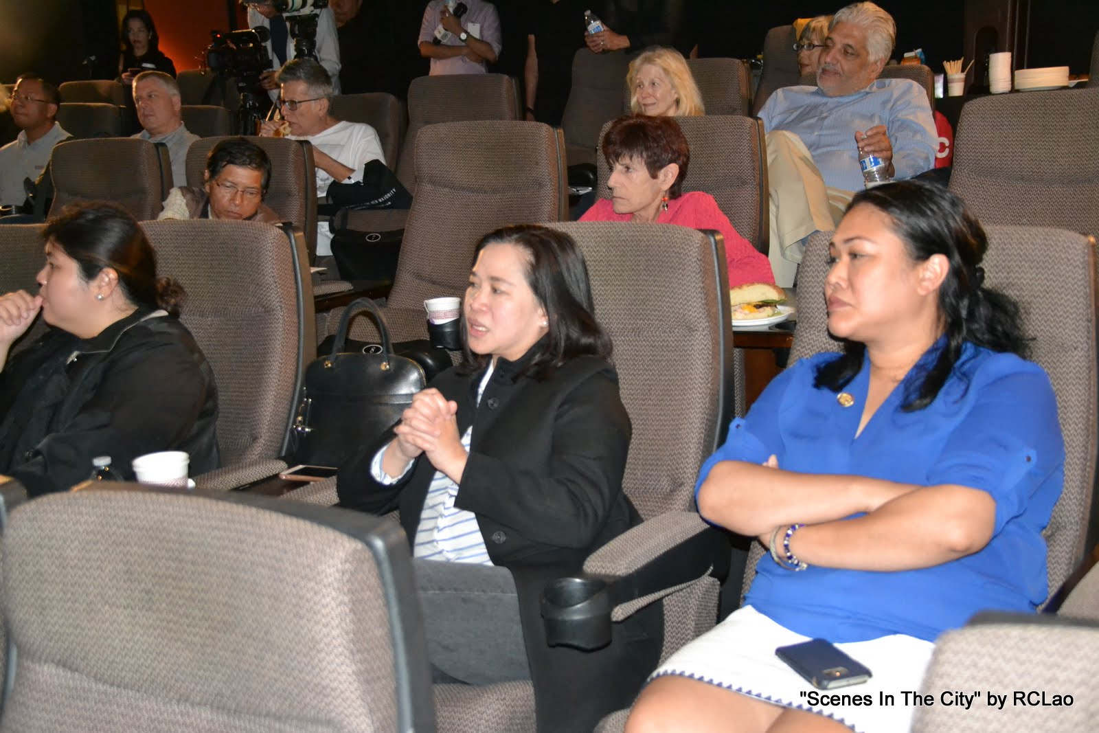 (Front L-R) Consul Carlyn Monastrial of the Philippine Consulate in San Francisco; ABS-CBN International Managing Director for North America Olivia De Jesus; Chief of Staff at CA State Board of Equalization Genevieve Jopanda; and representatives from various media and publications at the special screening of Mikhail Red's Bird Shot, shown at the Cinamatografo International Film Festival launch and press conference at the AMC Dine-In Kabuki 8 Theaters in Japantown. (Photo courtesy of Richard Lao)