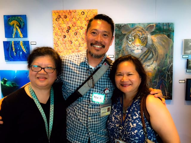 Author (left) with artists Rex Dacanay and Nannette Nemenzo in 2016. (Photo by Sharon Freeman, UCSF)