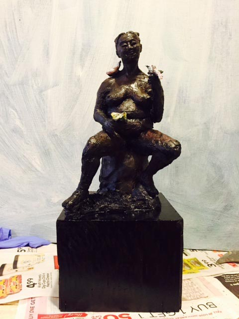 """Imagine"""" – Raku fired clay on wood base board by Rex Dacanay. The sculpture was one of the artworks shown at the UCSF ARTshow 2016 (Photo courtesy of Rex Dacanay)."""